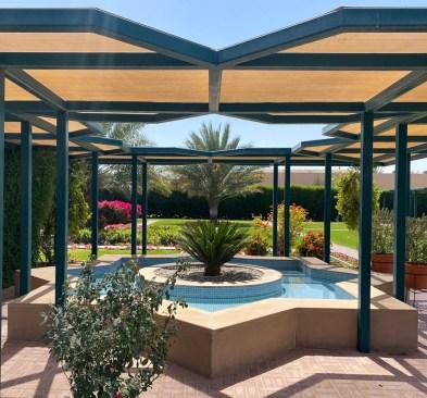 Outside gardens designed using geometric designs at Islamic Botanic Gardens, Sharjah Desert Park