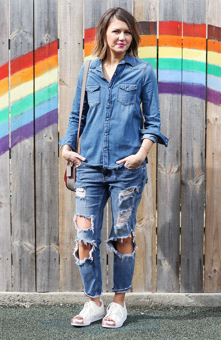 Corri McFadden wears denim and Adidas sneakers on Glitter and Bubbles.