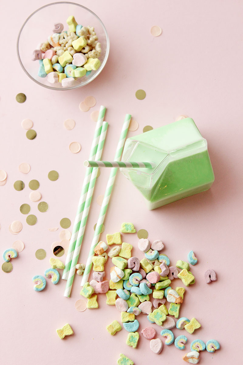 A recipe for Lucky Charms Pancakes with Green Milk by Glitter and Bubbles.