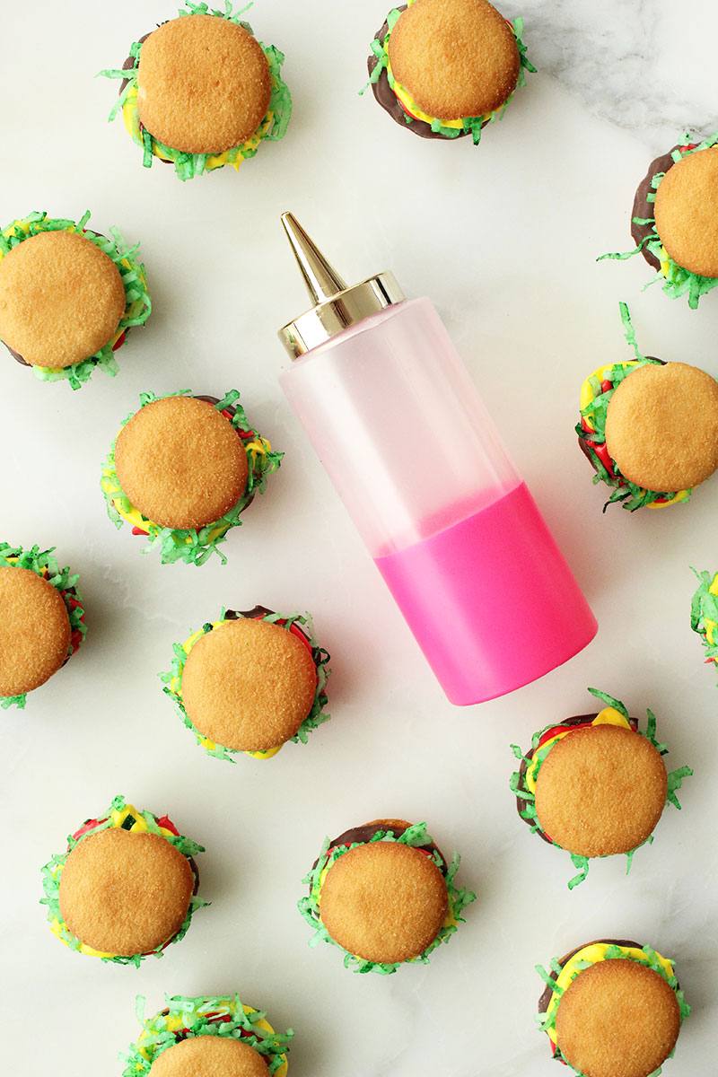 This is a recipe for Mini Burger Cookies by Glitter and Bubbles.