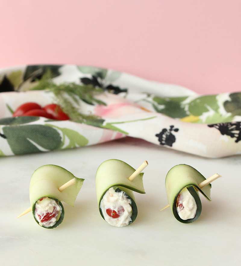 This is a recipe for Bacon & Dill Cucumber Roll Ups by Glitter and Bubbles.