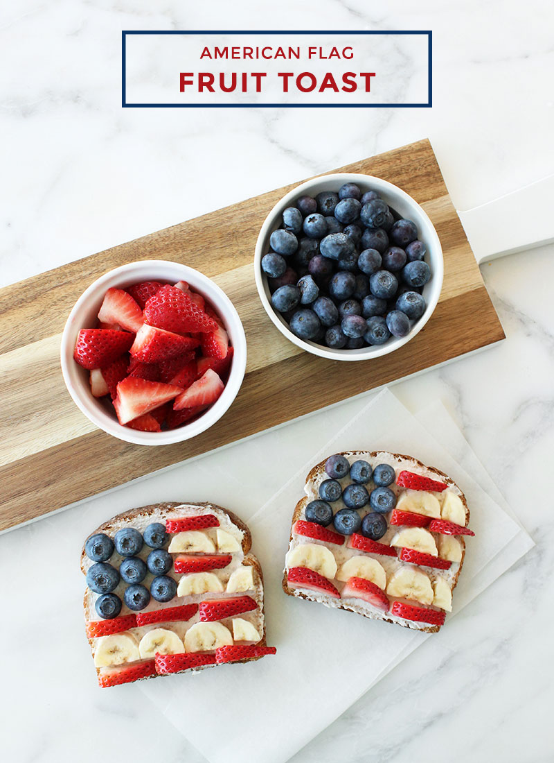 This is a recipe for American Flag Fruit Toast by Glitter and Bubbles.