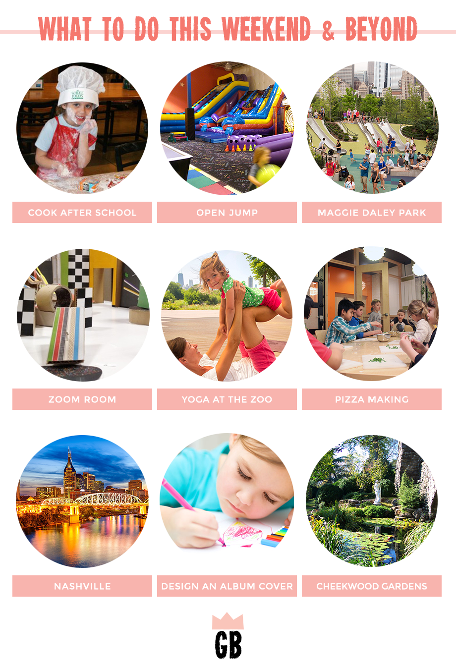 This is a post by Glitter and Bubbles that shows parents what activities they can do with their children throughout Chicago and Nashville.