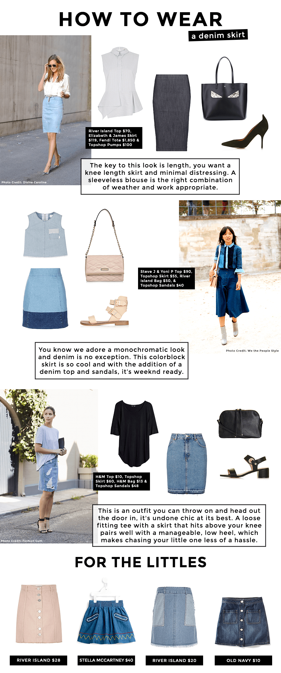 This is a post by Glitter and Bubbles that shows readers how to wear denim skirts.