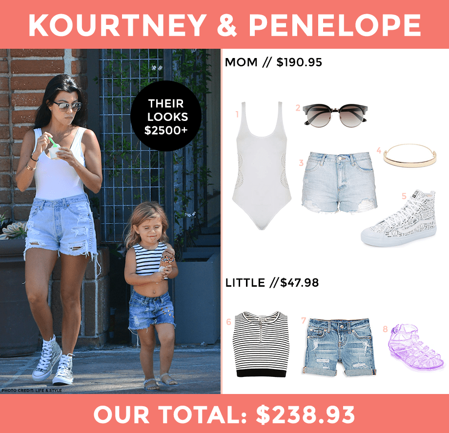 This is a look for less post by Glitter and Bubbles featuring Kourtney Kardashian and her daughter, Penelope Disick.