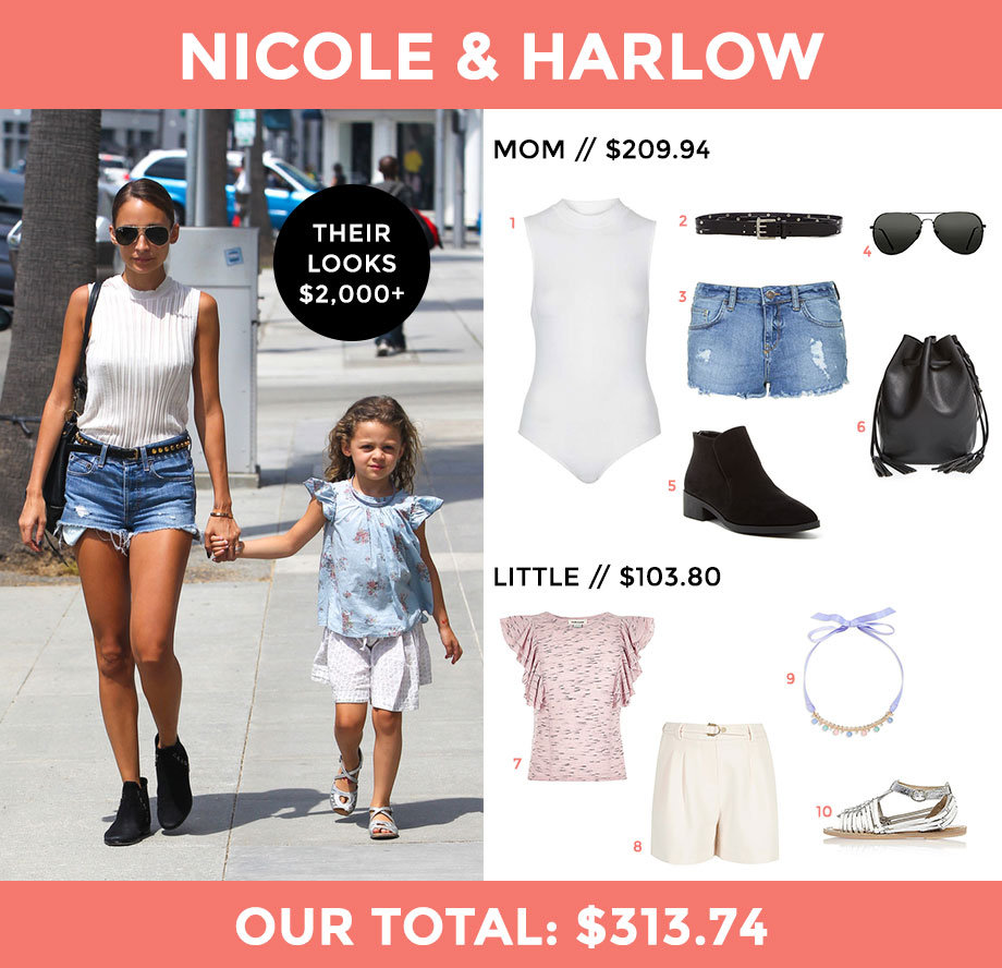 This is a look for less post by Glitter and Bubbles that features Nicole Richie and her adorable daughter, Harlow.