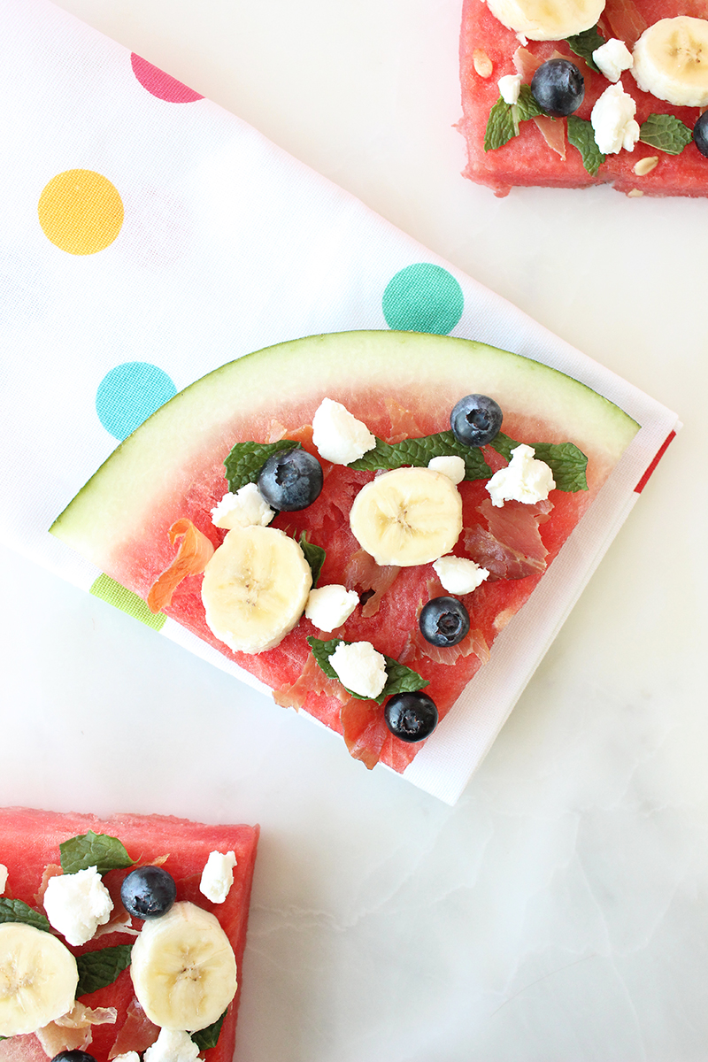 This is a recipe for Prosciutto & Goat Cheese Watermelon Pizza by Glitter and Bubbles.