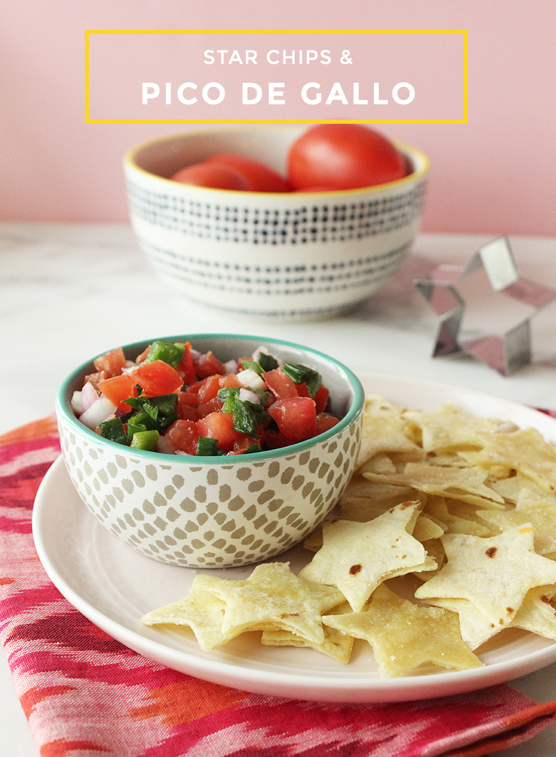 This is a bright and delicious summer recipe with fresh vegetables by Glitter and Bubbles for Pico de Gallo with Star Chips.