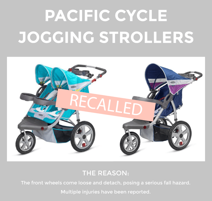 This is a recall alert on the Pacific Cycle Jogging Strollers by Glitter and Bubbles.