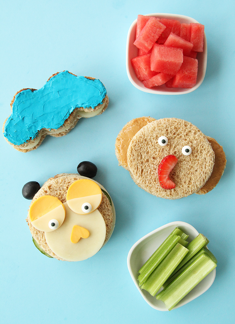 This is a recipe for Back to School Sandwiches by Glitter and Bubbles featuring sandwiches that look like animals.