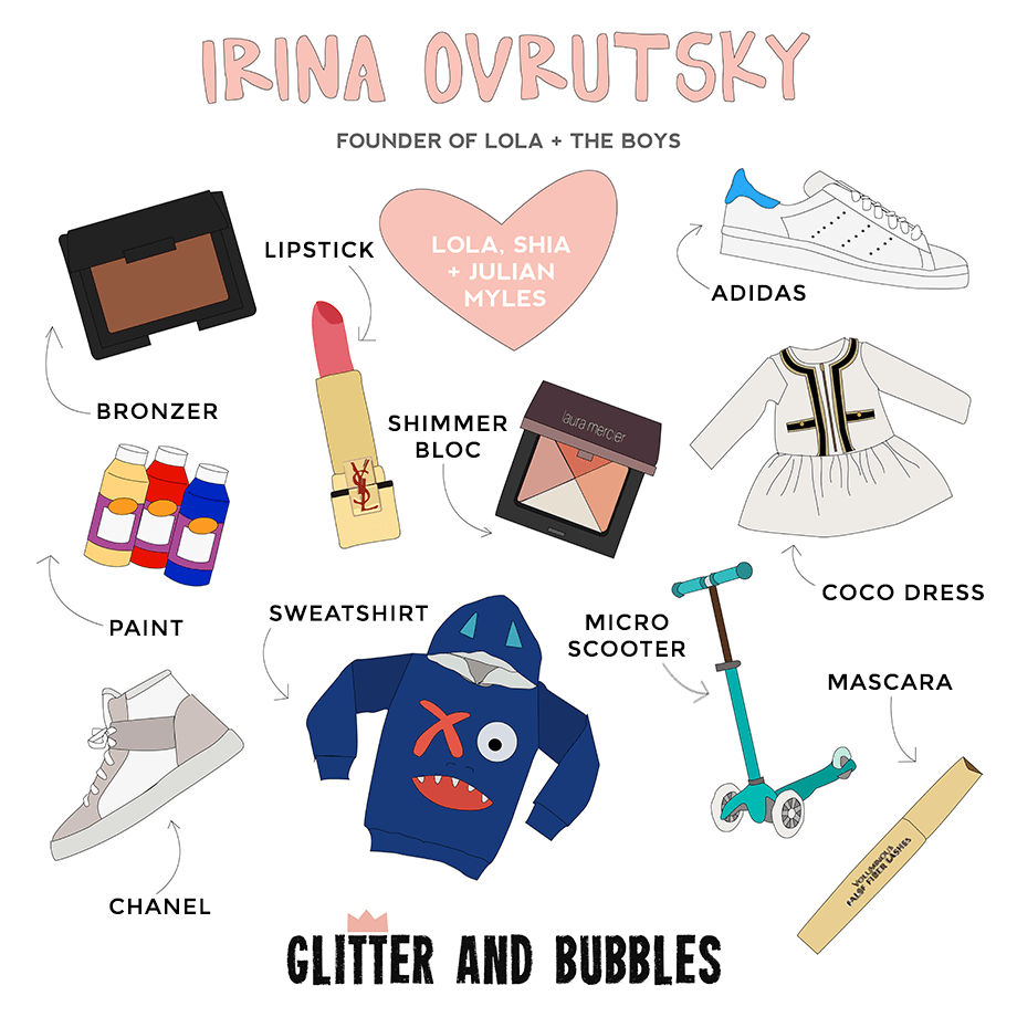 Irina Ovrutsky of Lola + the Boys is featured as this week's Rad Mom on Glitter and Bubbles.