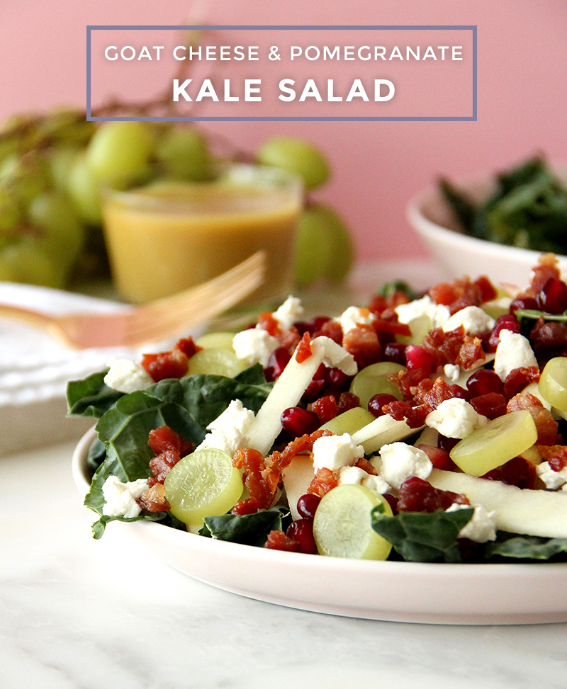This is a recipe for Goat Cheese & Pomegranate Kale Salad by Glitter and Bubbles.