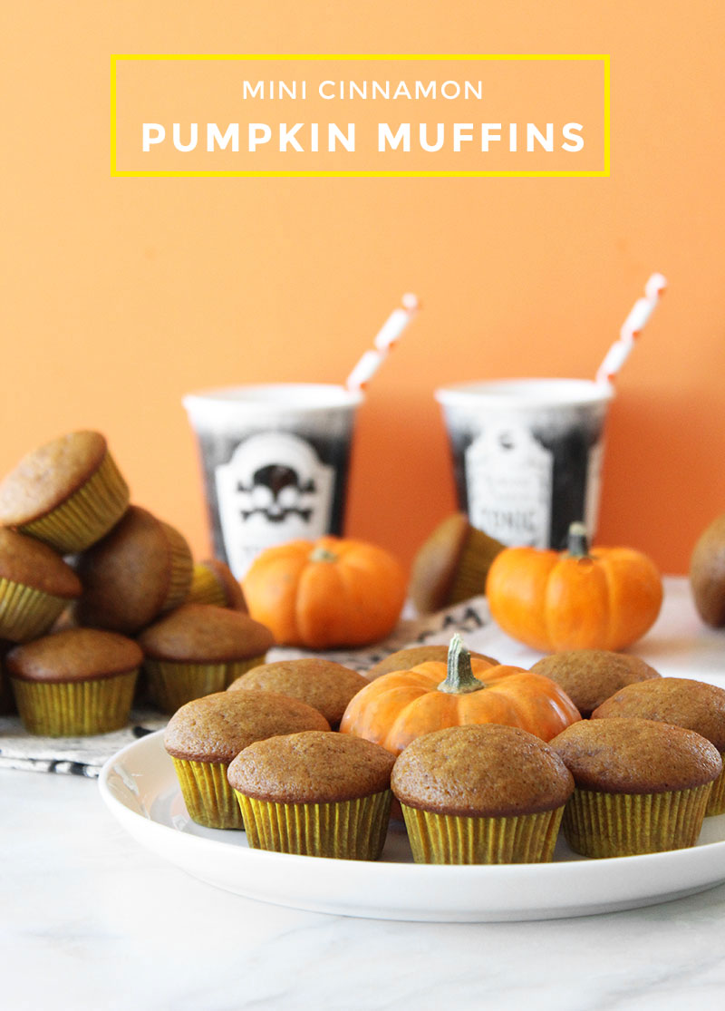 This is a delicious Halloween recipe for Mini Cinnamon Pumpkin Muffins by Glitter and Bubbles.
