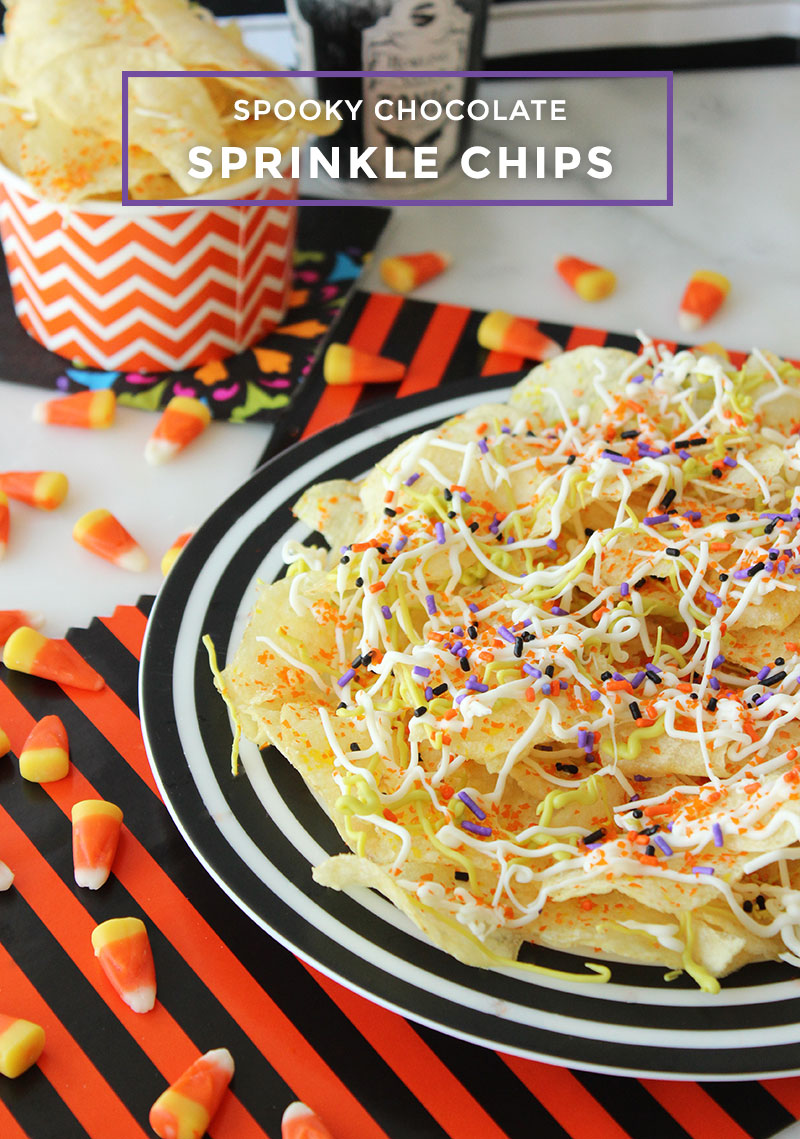 This is a Halloween recipe by Glitter and Bubbles for Spooky Chocolate Sprinkle Chips.