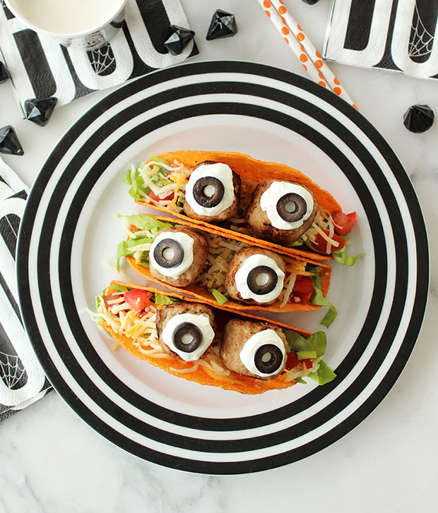 A recipe for turkey meatball monster tacos.