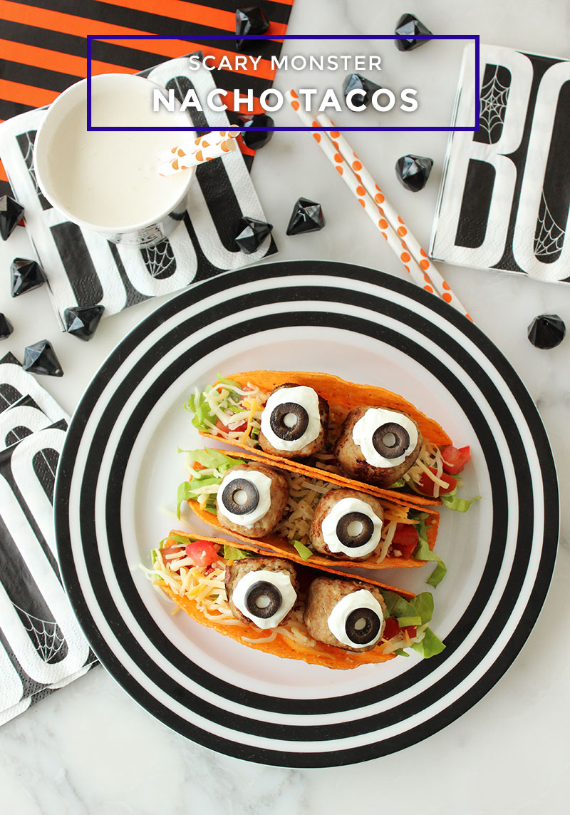 How to Make Scary Monster Nacho Tacos for Halloween by Glitter and Bubbles.