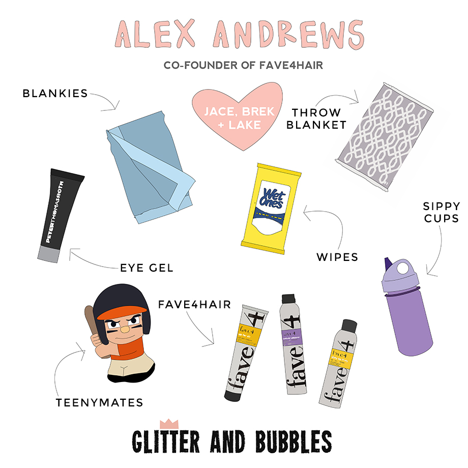 This is an illustration by The Unexpected Type that shows Alex Andrews' favorite things featuring Peter Thomas Roth eye gel and more!