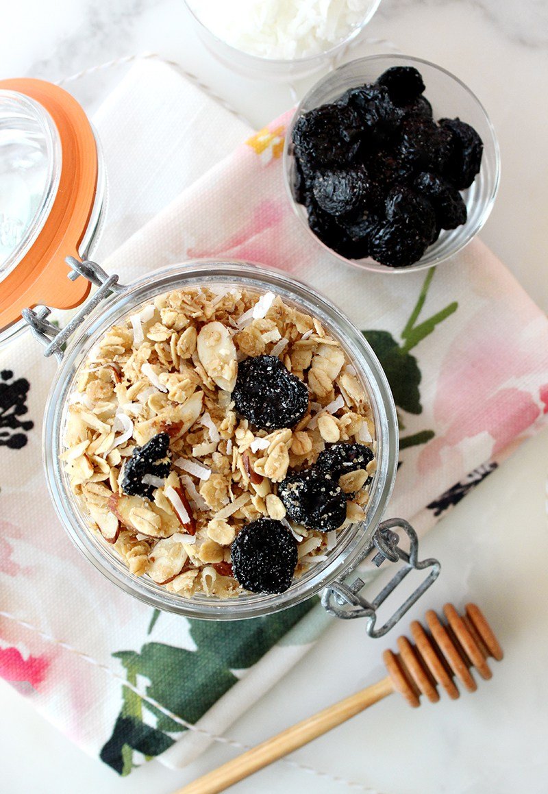 A healthy recipe for granola with Michigan cherries on top.