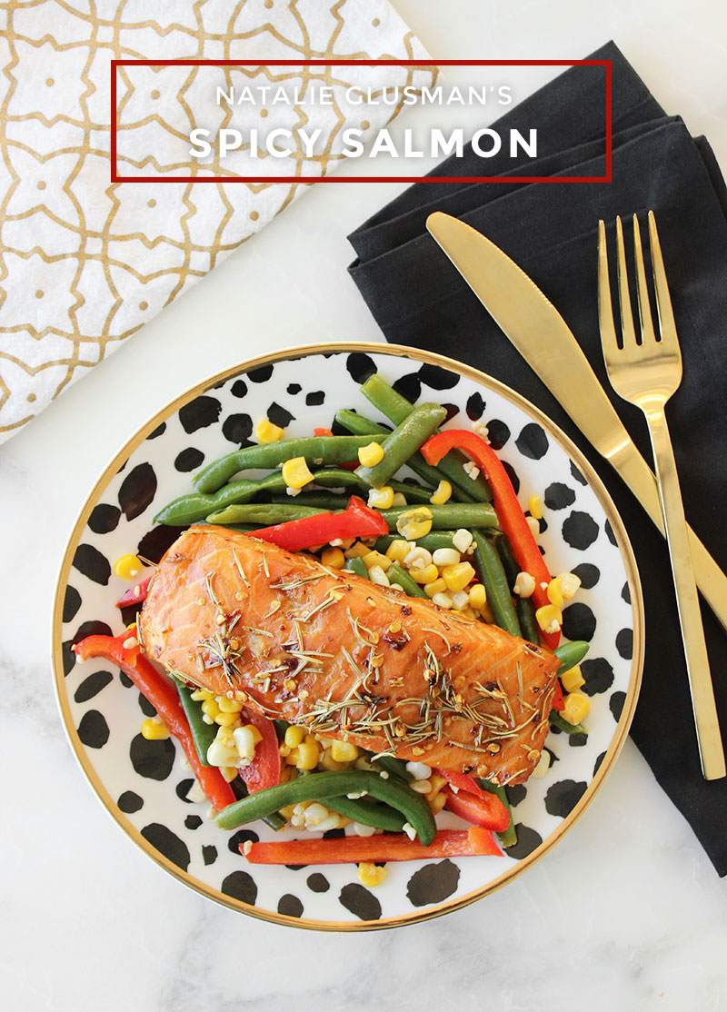 A delicious recipe for healthy spicy salmon with vegetables.
