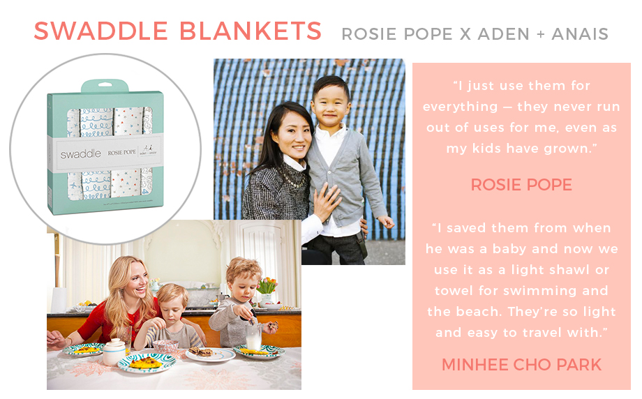 Rosie Pope for Aden + Anais Swaddle Blankets.