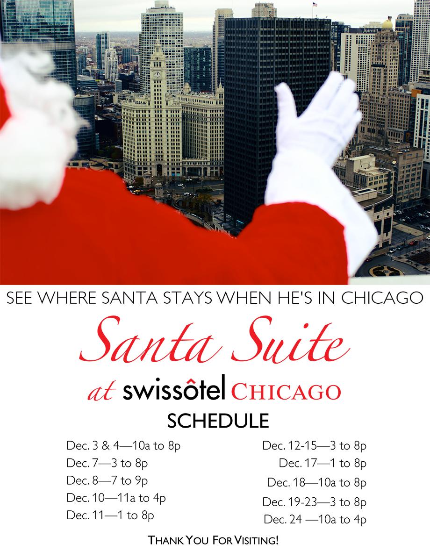 Swisshotel Santa Suite schedule in Chicago.