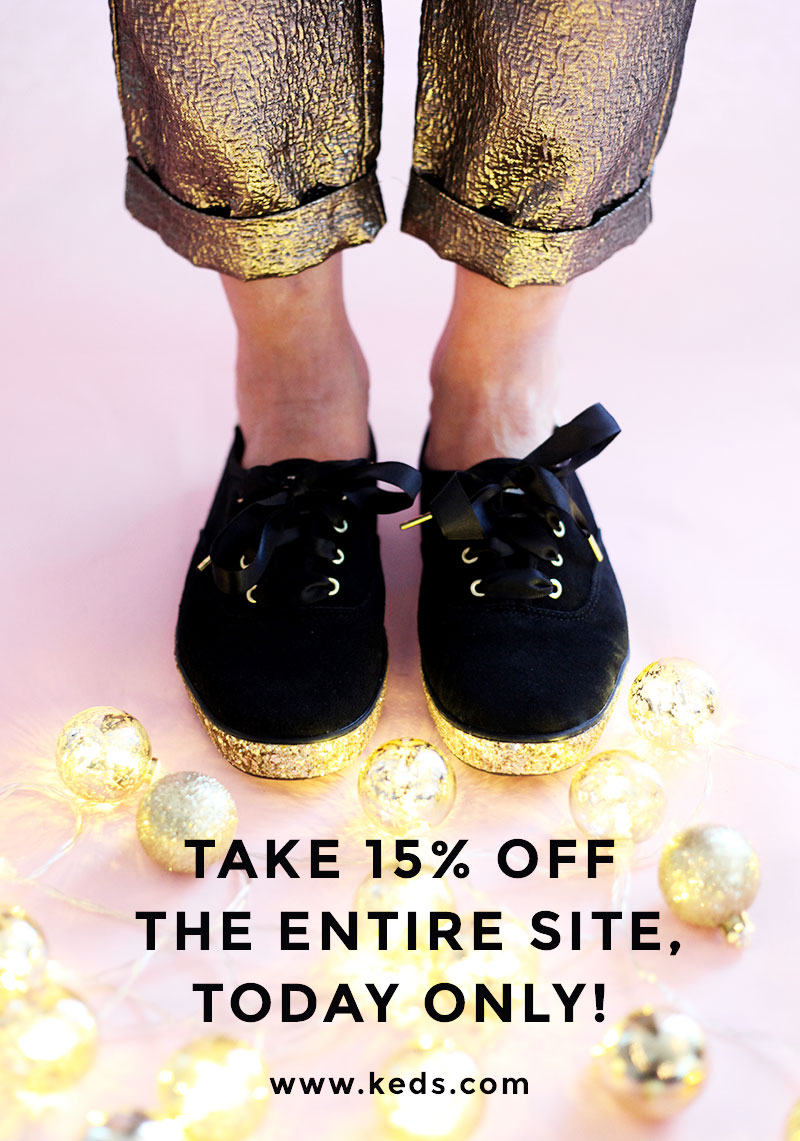 37ef5185b98 ... Kate Spade glitter sneakers giveaway. Black lace up Keds x Kade Spade  sneakers with a gold platform bottom.