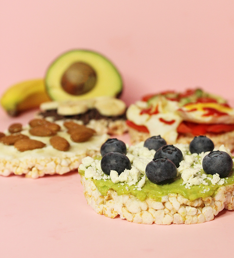 Easy and healthy rice cake toppings for snack time.