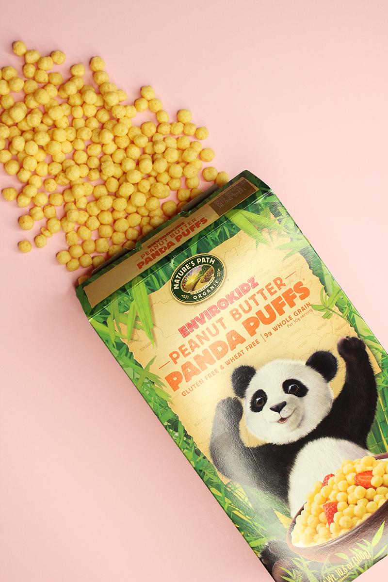 Peanut butter panda puffs gluten-free cereal.