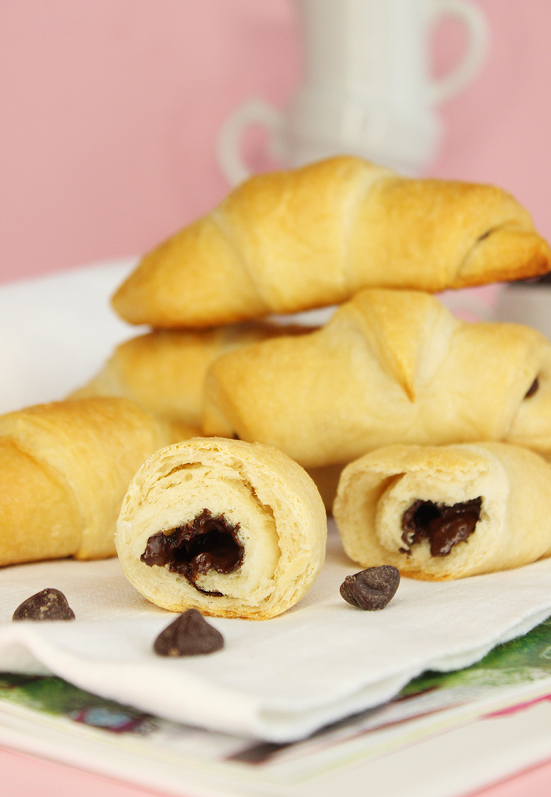 Homemade chocolate filled croissants recipe using Trader Joe's chocolate.