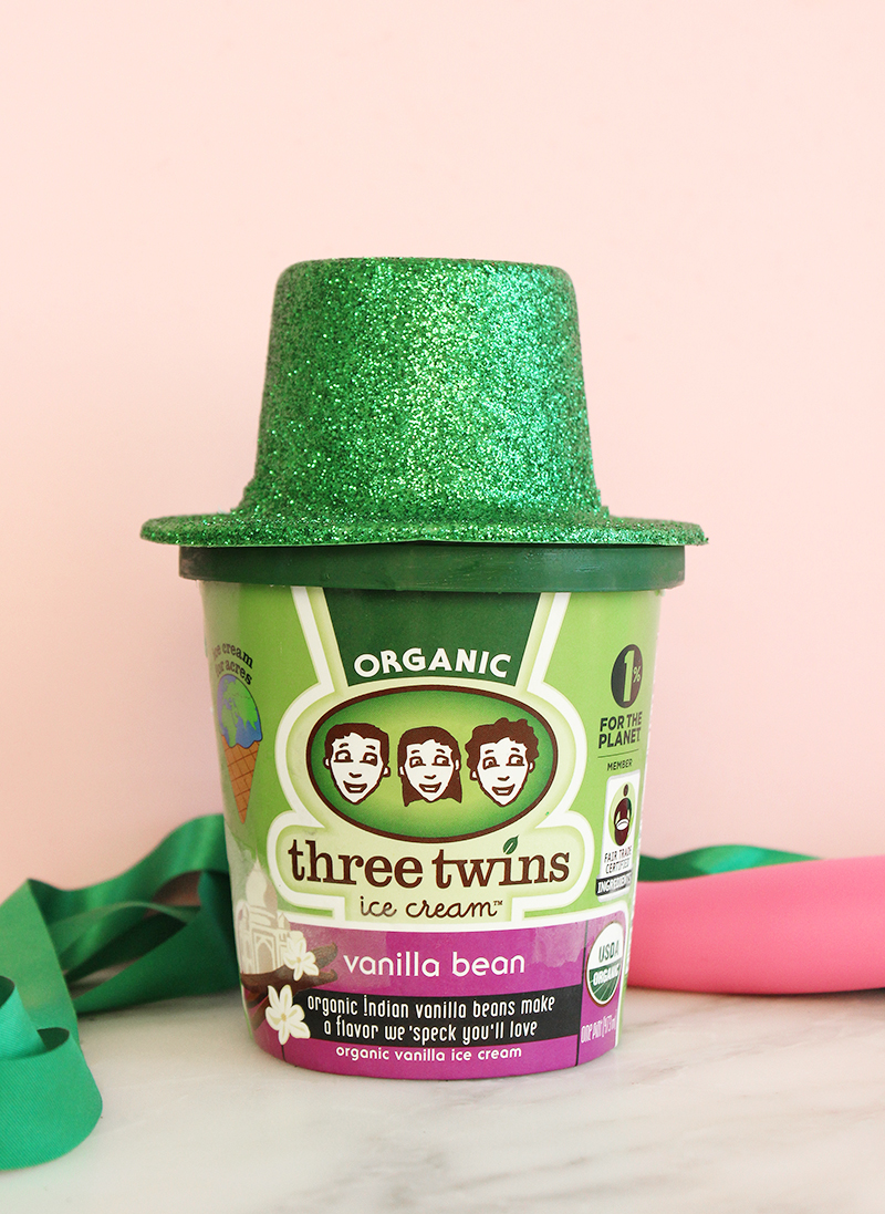 Three Twins vanilla ice cream with Oriental Trading hats.