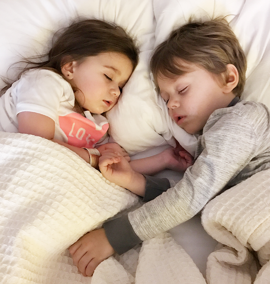 Toddlers sleeping at the Swissotel.