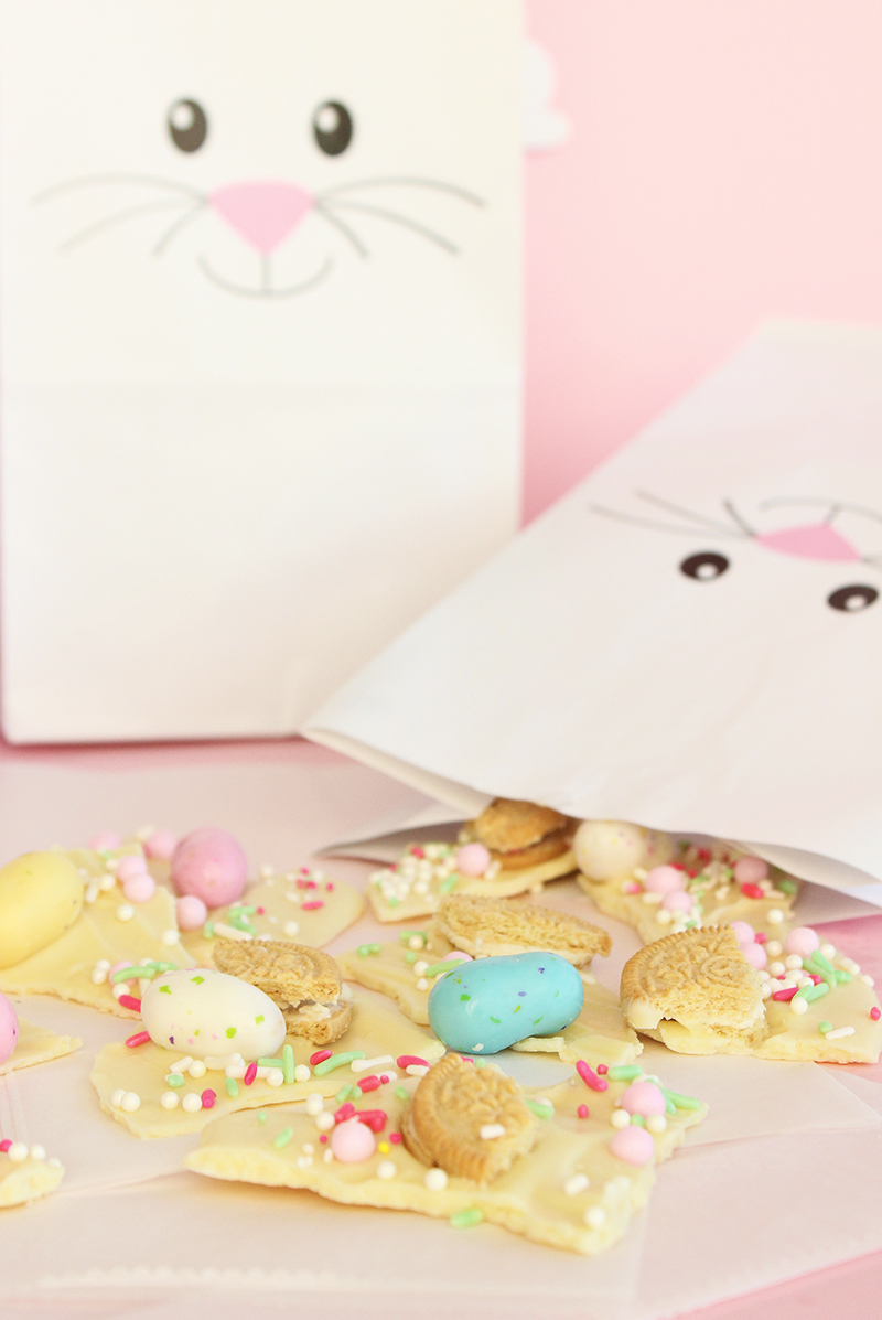 Bunny bags from Oriental Trading Company filled with white chocolate Easter bark.