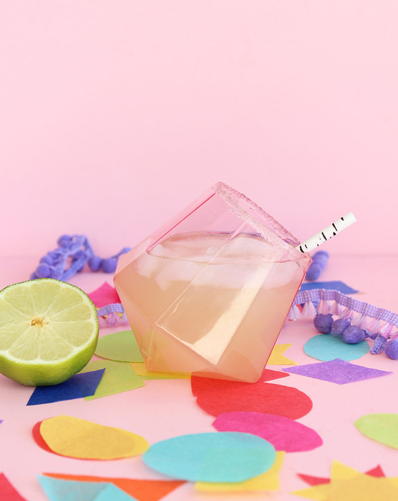 A recipe for a delicious margarita with salt on the rim.