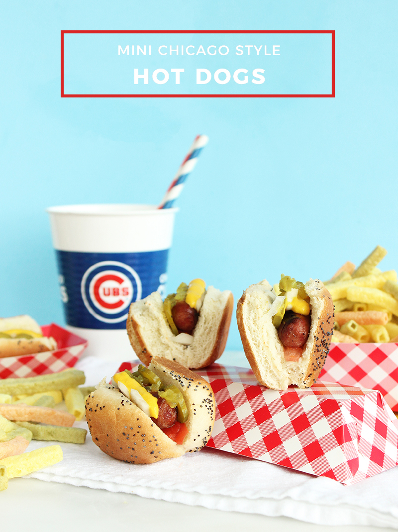 An easy recipe for mini Chicago style hot dogs.