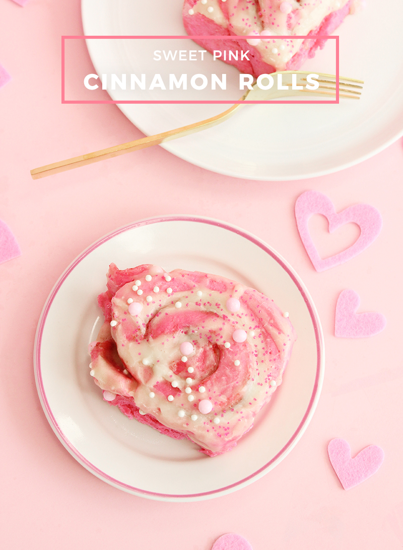 Sweet pink cinnamon rolls for Mother's Day.