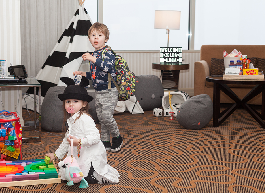 Arriving at the Swissotel Kid's Suite.