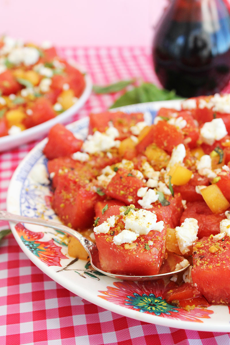 A summer recipe for watermelon salad.