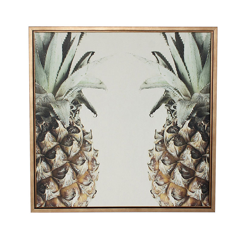Kate and Laurel Sylvie Symmetrical Pineapple Gold Framed Canvas