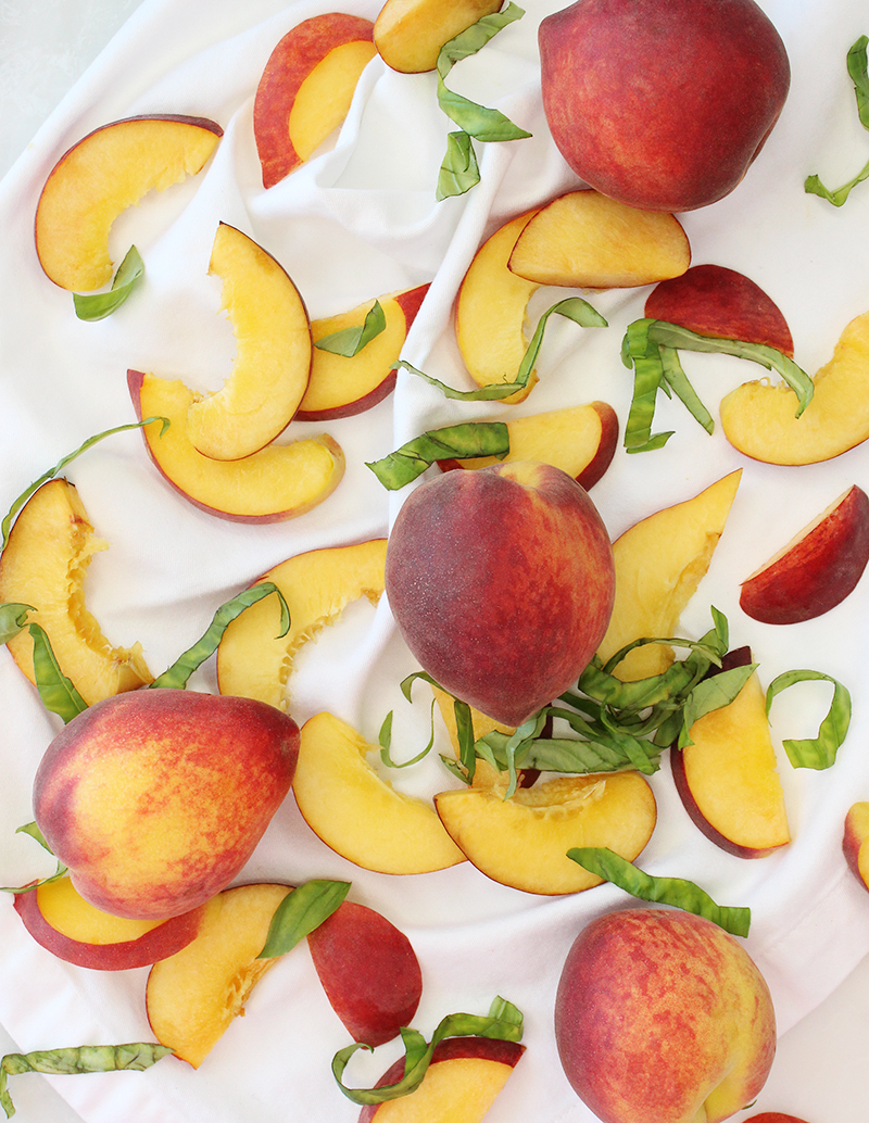An assortment of peaches for peach flatbread.