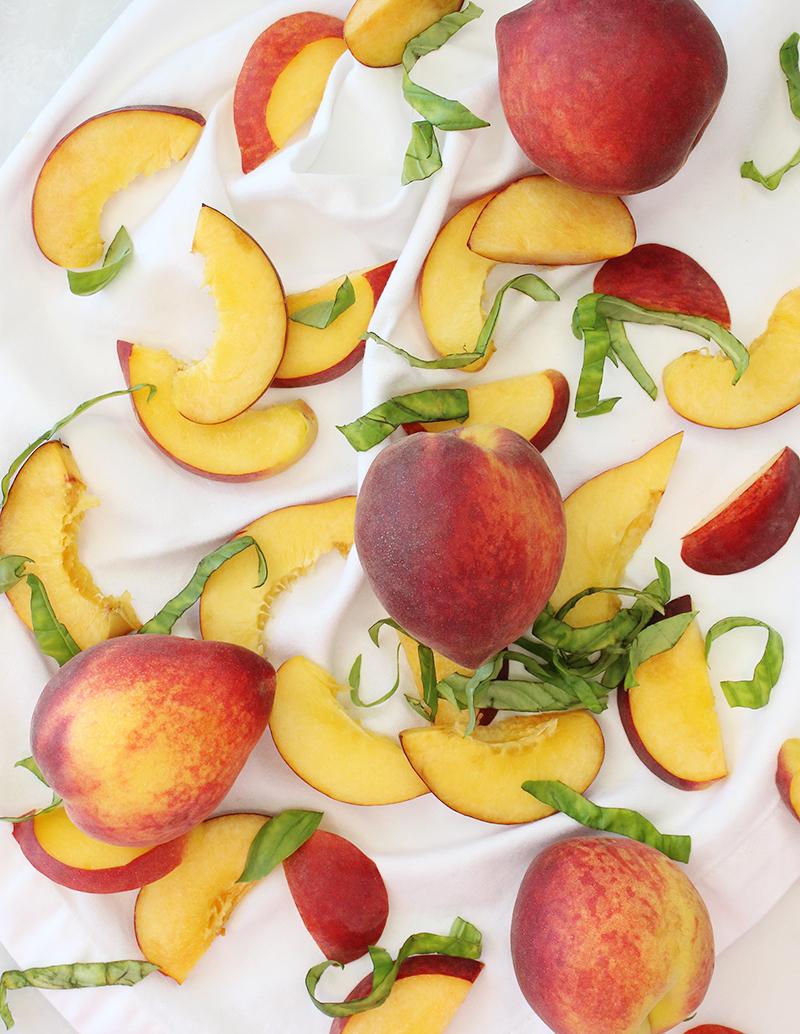 An assortment of peaches for peach flatbread.