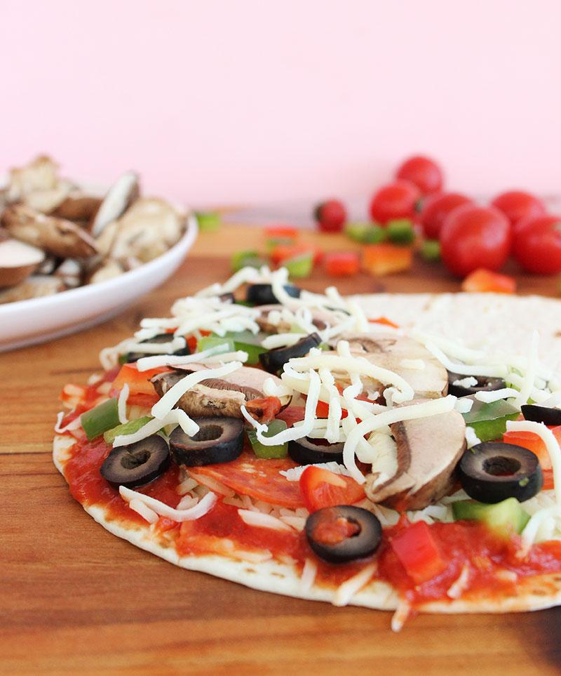Pizza quesadilla toppings.