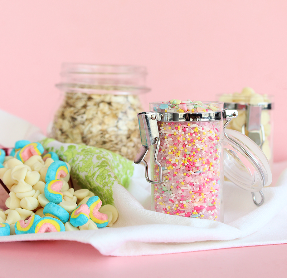 Sprinkles, Lucky Charms and oats.