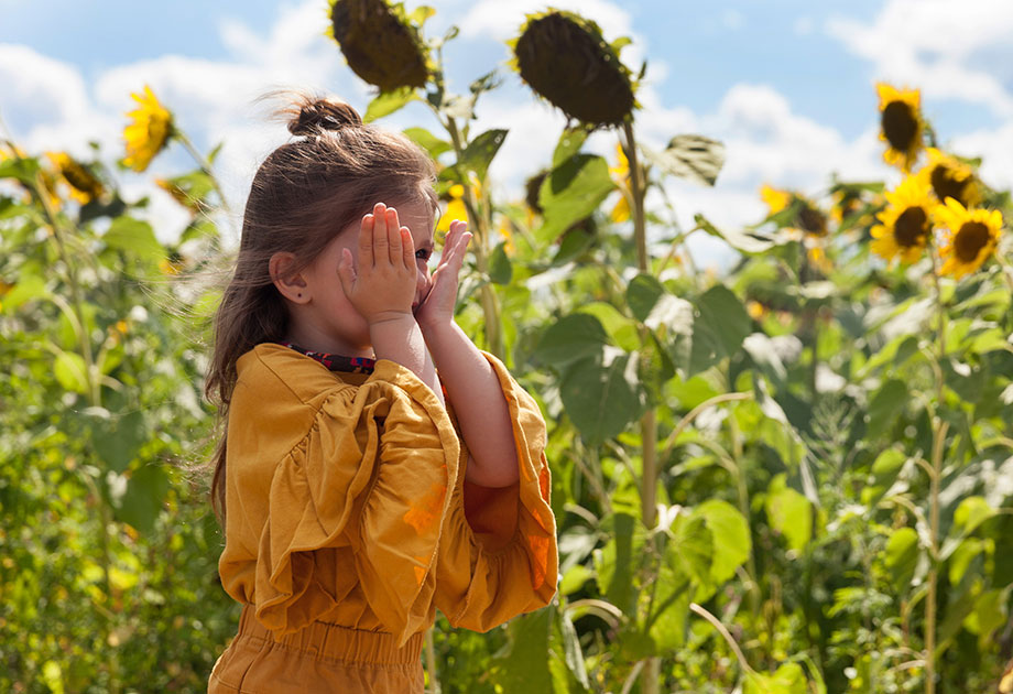 Pope Conservancy sunflower fields with a little girl in a field.