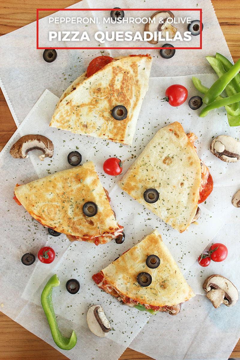 Pepperoni, black olive, and mushroom pizza quesadillas.
