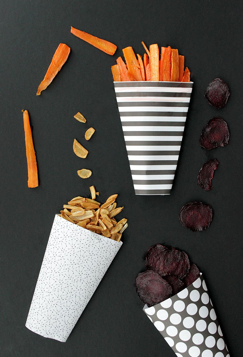 A recipe for veggie chips for back to school.