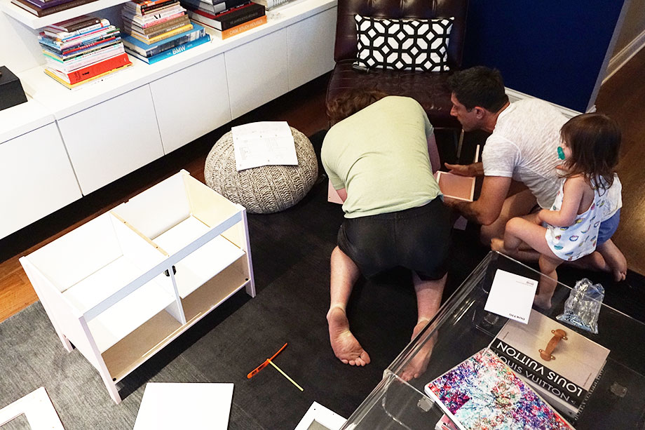 Assembling a kids kitchen IKEA hack.