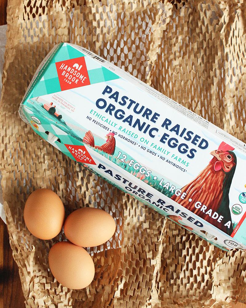 Pasture raised Handsome Brook Farm eggs.