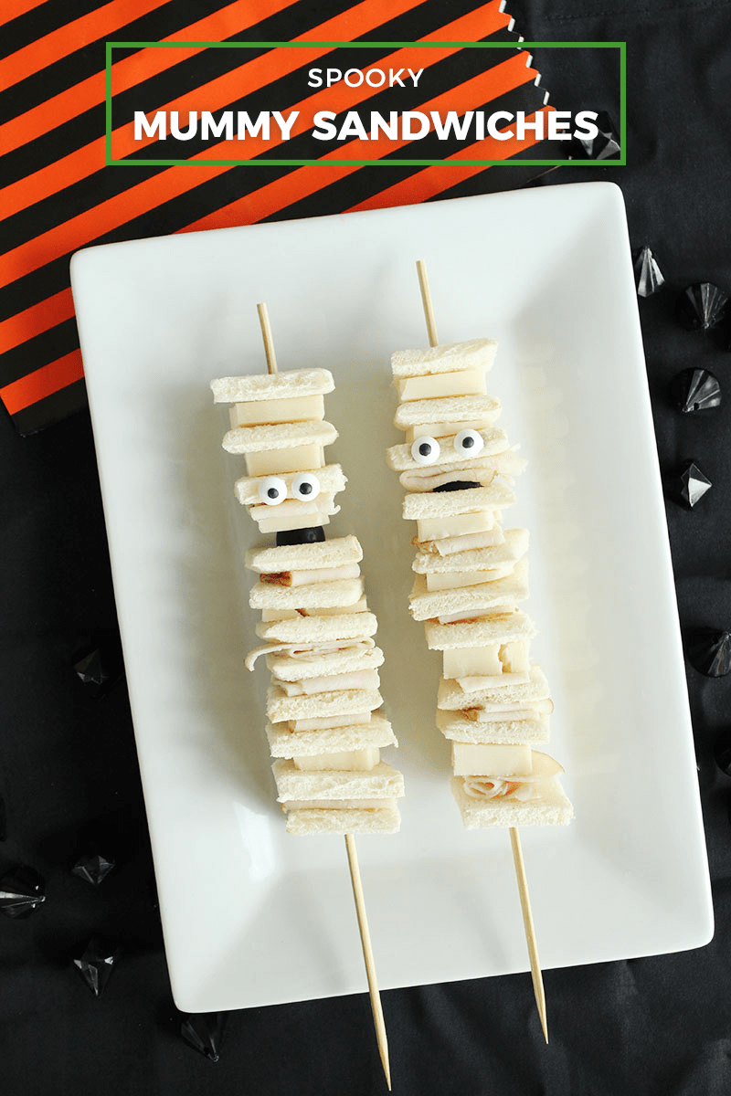 Scary Mummy Sandwiches for Halloween.