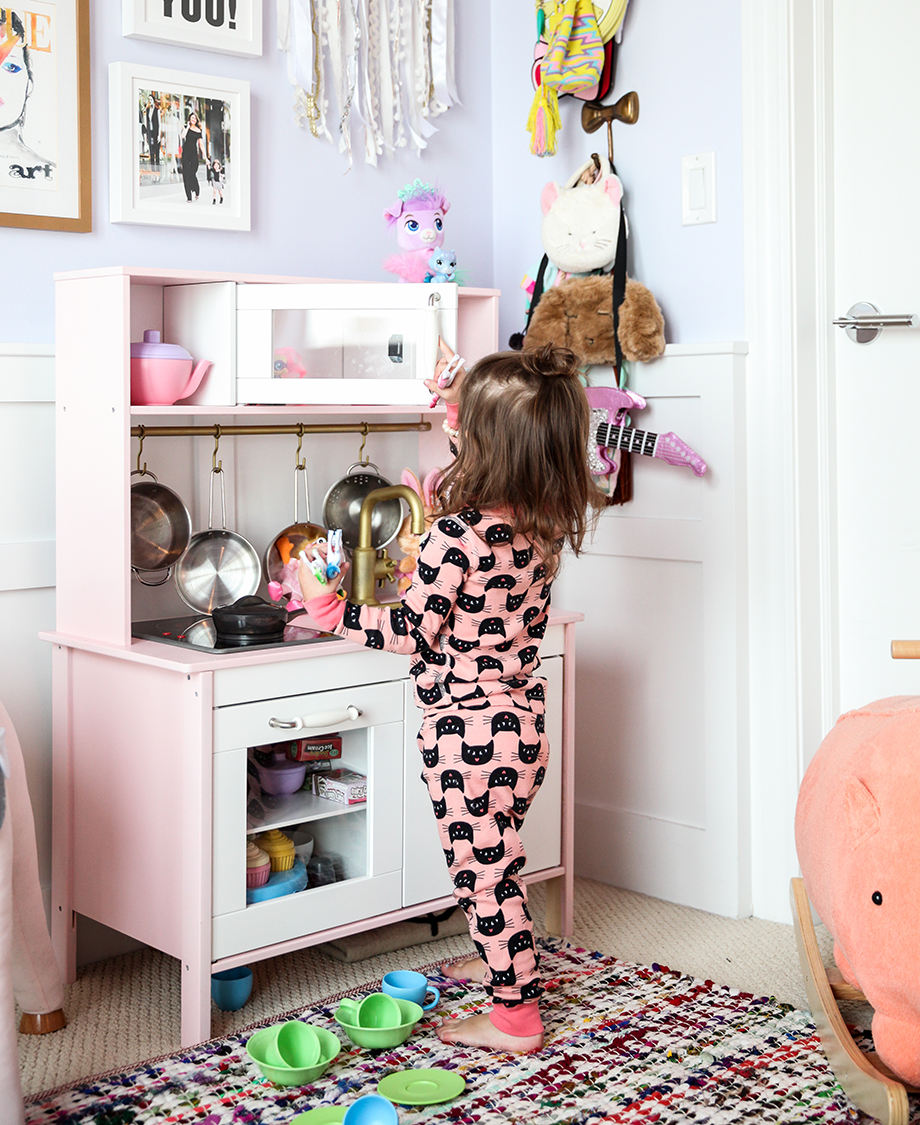 A little girl's IKEA play kitchen.