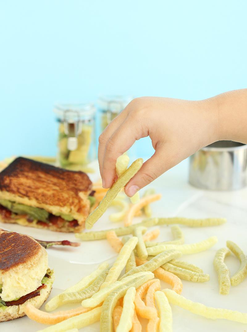 Veggie sticks with grilled sandwiches.